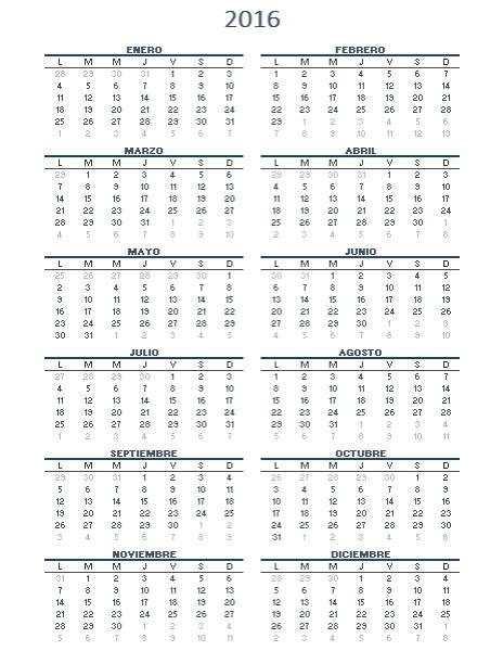 Calendario de un año