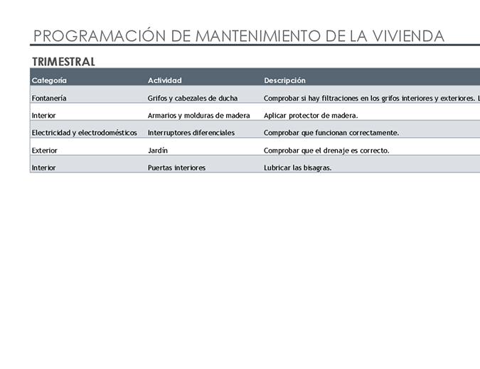 Lista de tareas y programación de mantenimiento de la vivienda