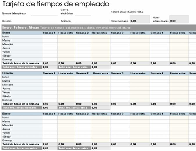 Tarjeta de tiempo para empleados (diaria, semanal, mensual y anual)