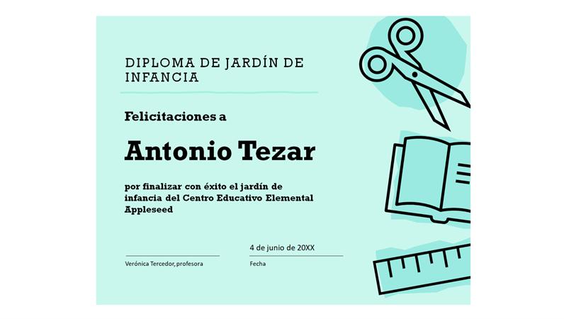 Certificado de diploma de escuela infantil