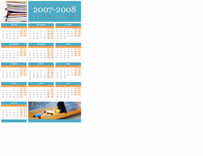 Calendario académico de 2007-2008 (1 página, lun.-dom.)