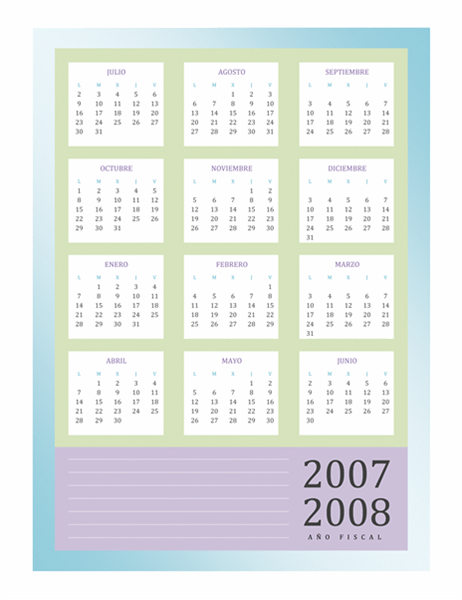 Calendario del año fiscal 2007-2008 (lun-vie)