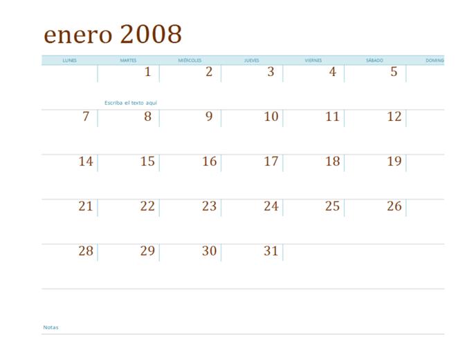 Calendario de 2008 en varias hojas de cálculo (lun-dom, 12 pp.)