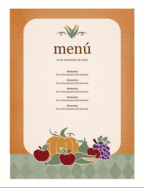 Menú (diseño de cosecha)