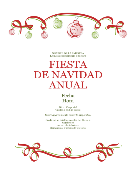 Invitación de fiesta navideña con adornos y cinta roja (diseño formal)