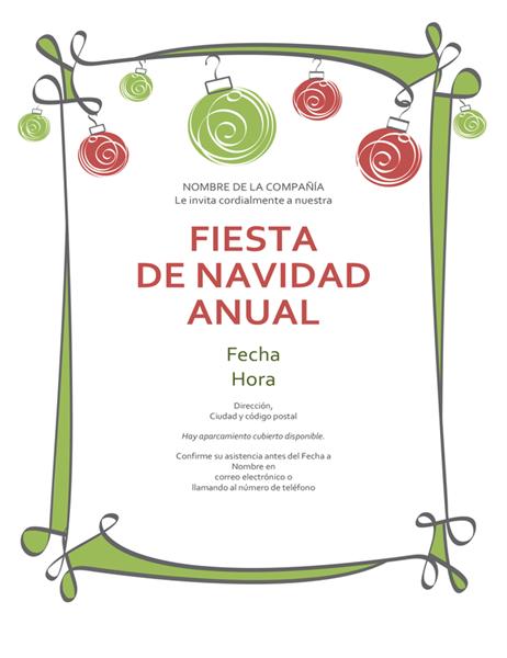 Invitación de fiesta navideña con adornos y un margen en forma de espiral (diseño informal)