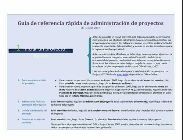 Guía de referencia rápida de administración de proyectos de Project 2007