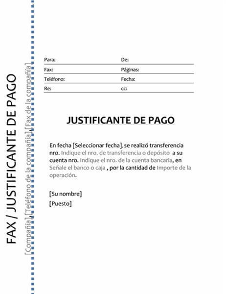 Justificante de pago (Fax)
