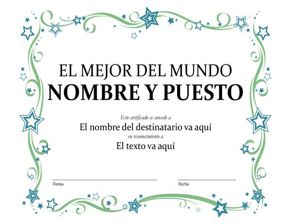 Certificado de premio al mejor del mundo