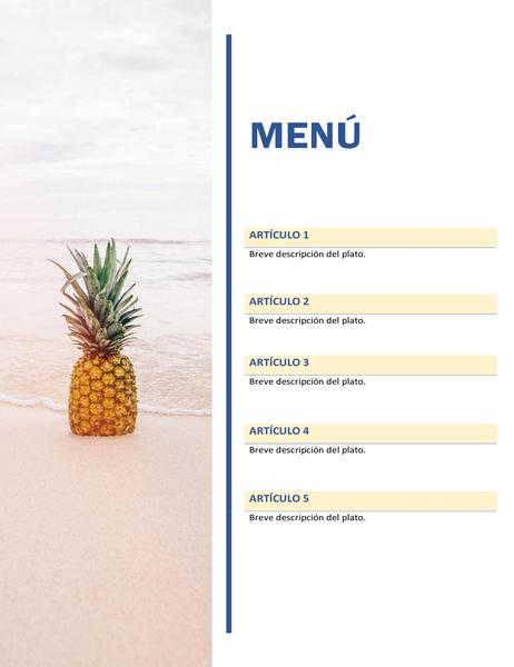 Menú de fiesta (diseño sol y arena)