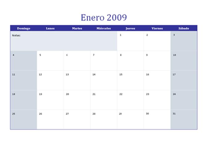 Calendario de 2009 en varias hojas de cálculo