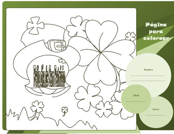 Hoja para colorear del Día de San Patricio (diseño de trébol)
