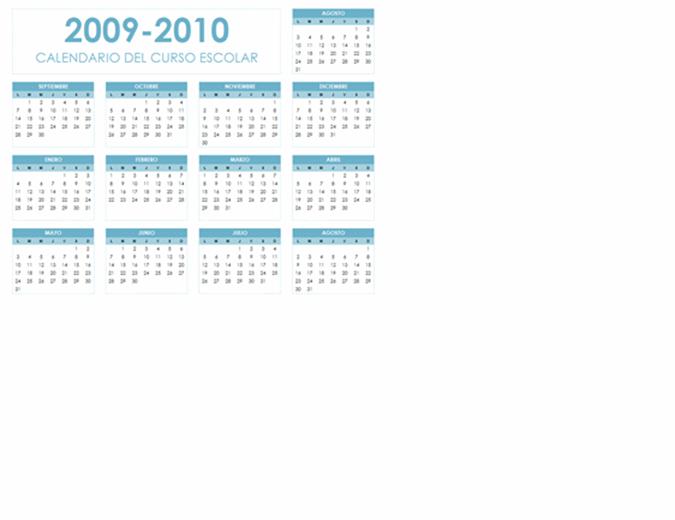 Calendario académico de 2009-2010 (1 página, horizontal, lunes a domingo)