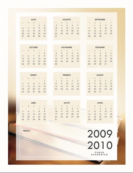 Calendario académico 2009-2010 (1 página, lunes a viernes)