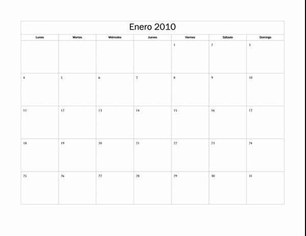 Calendario de 2010 (diseño básico, lunes a domingo)