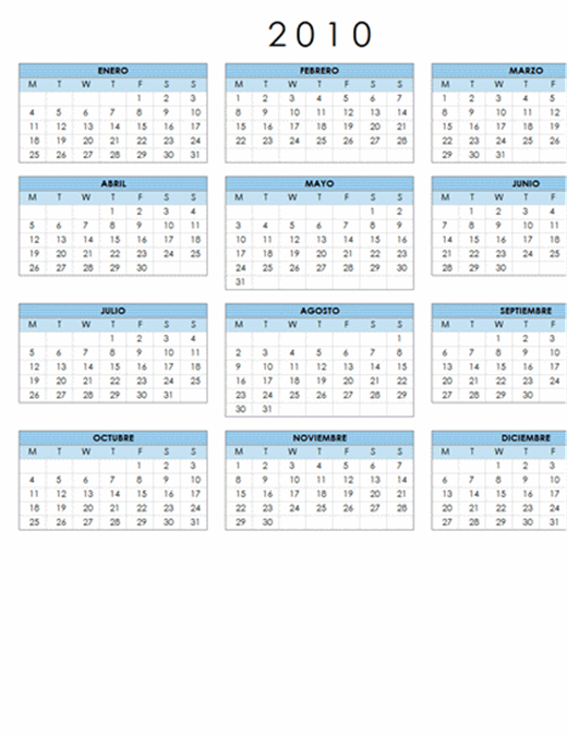 Calendario de 2010 (1 página, horizontal, lunes a domingo)