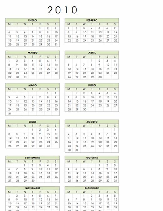 Calendario de 2010 (1 página, vertical, lunes a domingo)
