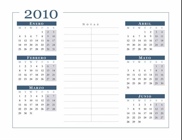 Calendario de 2010 (6 meses por página, lunes a domingo)