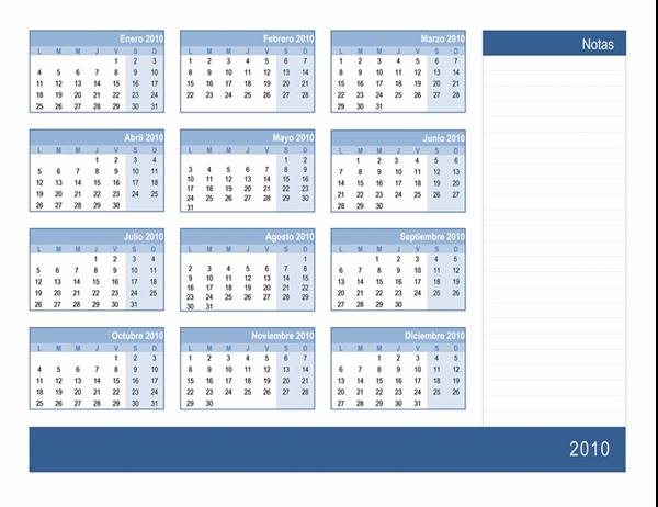 Calendario de 2010 con espacio para notas (1 página, lunes a domingo)