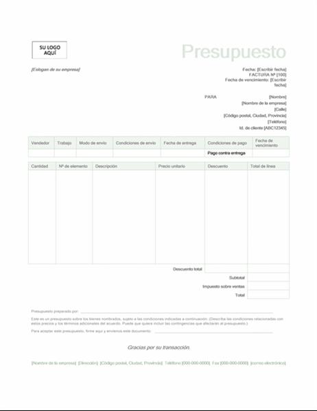 Presupuesto de ventas (diseño verde)
