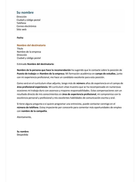 Carta de presentación para un currículum vítae eficaz