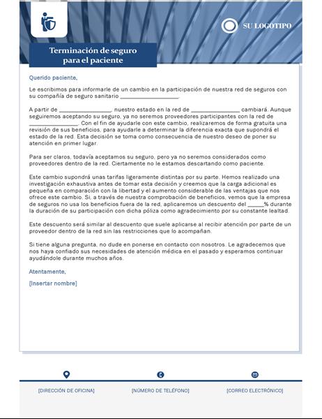 Carta de terminación de seguros salud