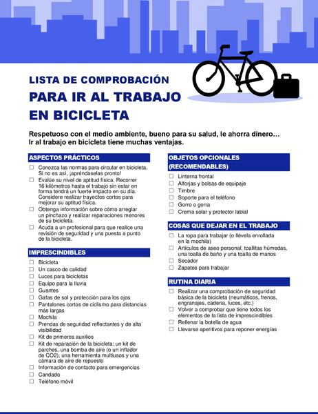 Lista de comprobación para ir al trabajo en bicicleta