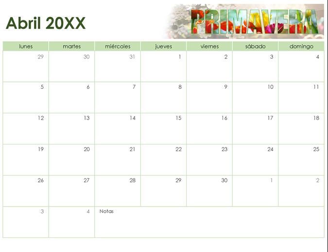 Calendario de fotos estacional