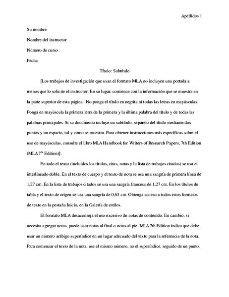 Documento de estilo MLA