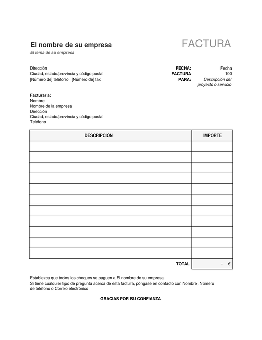 Factura simple que calcula el total