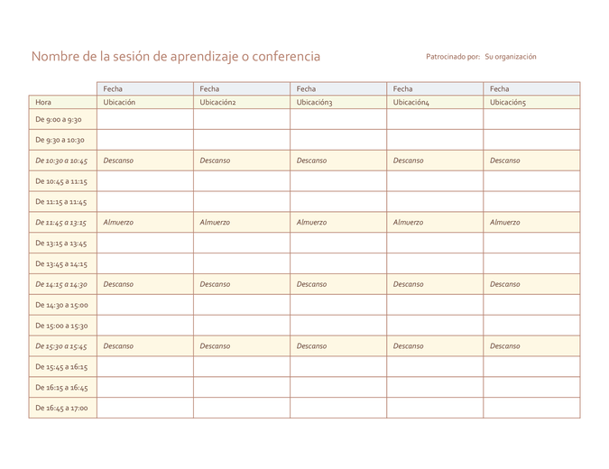 Programación de eventos de cinco días