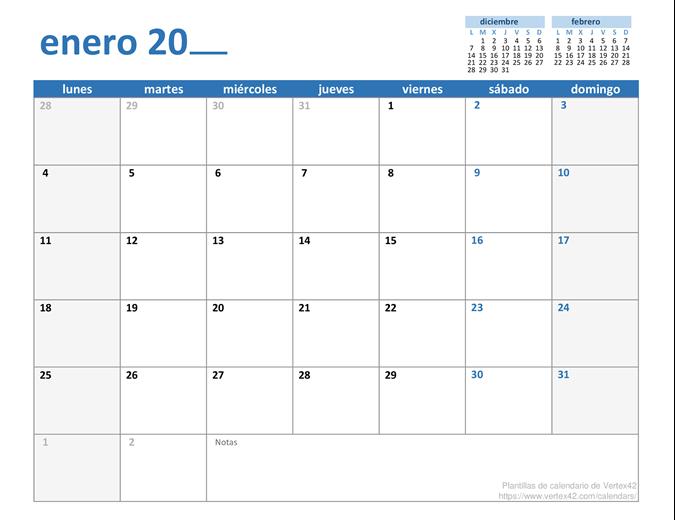 Calendario mensual de cualquier año