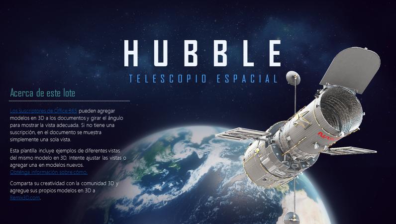 Presentación de PowerPoint en 3D (modelo del telescopio Hubble)
