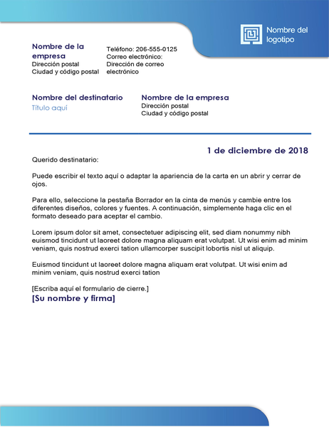 Carta de negocios (borde azul y degradado de color)