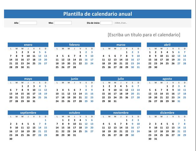 Calendario para cualquier año de un vistazo (horizontal)