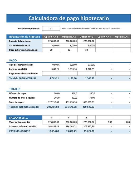 Calculadora de pago hipotecario