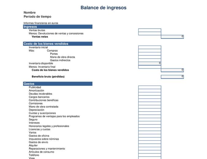 Balance de ingresos de un año