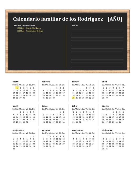 Calendario familiar (cualquier año, de lunes a domingo)