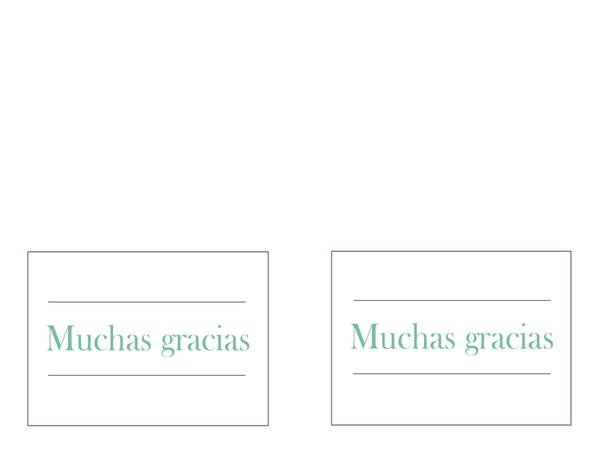 Notas de agradecimiento por boda (dos por página)