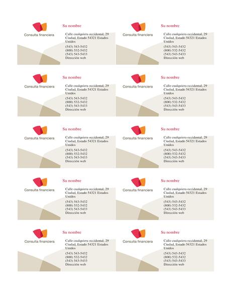 Tarjeta de presentación financiera (10 por página)