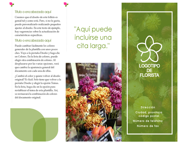 Folleto de floristería