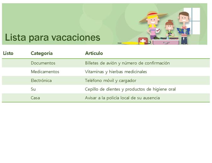 Lista de comprobación de vacaciones familiares