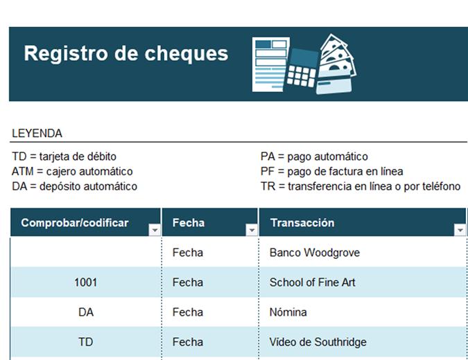 Registro de cheques con códigos de transacción