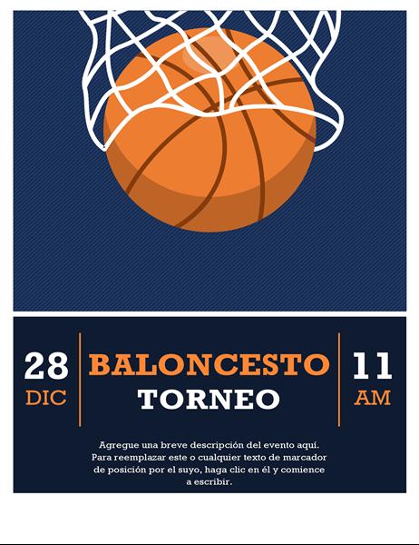 Folleto de torneo de baloncesto