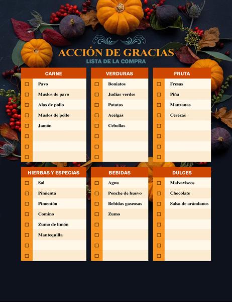 Lista de la compra de dones de la naturaleza para Acción de Gracias