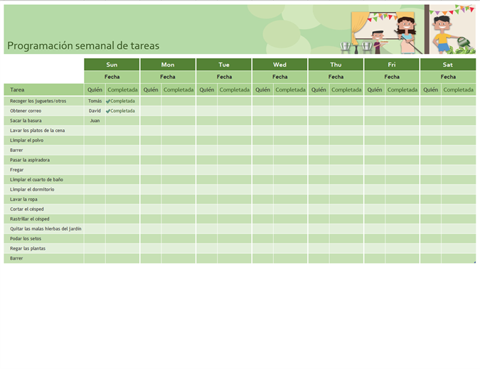 Lista de tareas semanales