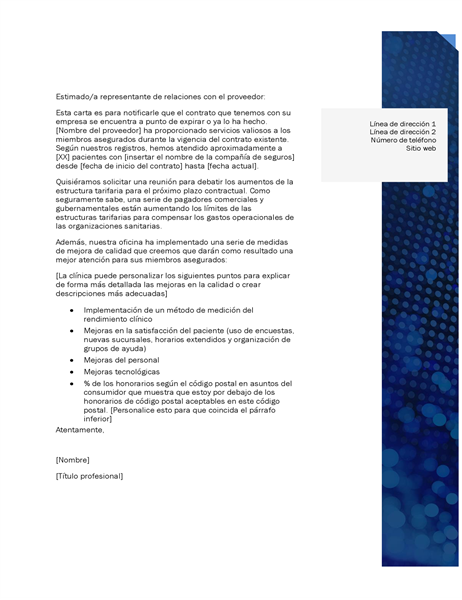 Carta de relaciones con proveedores para el sector médico