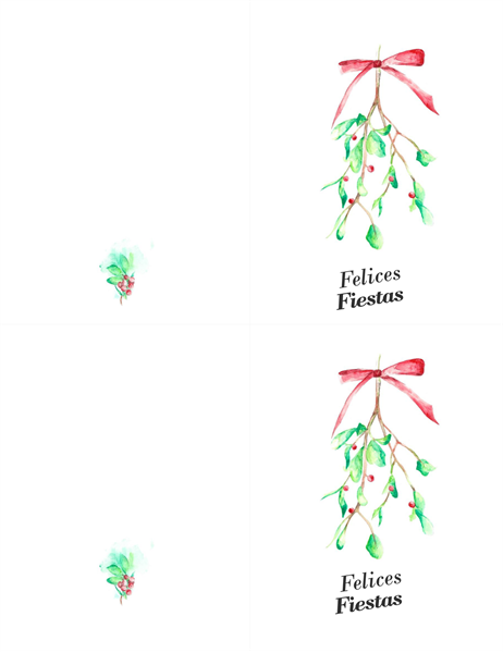Tarjeta navideña con muérdago