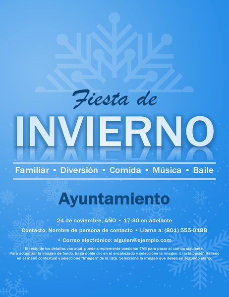 Folleto de evento con copo de nieve
