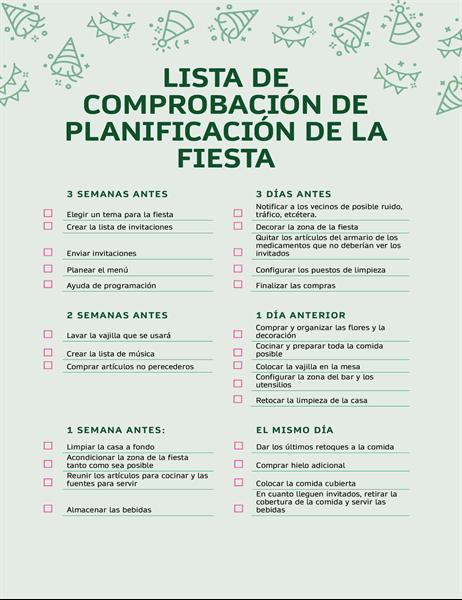 Lista de comprobación de planificación de la fiesta